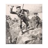 British Troops Attack German Trenches with Hand Grenades, from 'The War Illustrated Album… Giclee Print