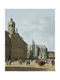View in Amsterdam, with the Facade of the Stadhuis and the Nieuwe Kerk Giclee Print by Gerrit Adriaensz Berckheyde
