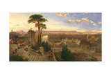 Rome, Twilight, View from the Convent of San Onofrio on Mount Janiculum, C.1853-55 Giclée-Druck von David Roberts