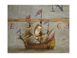 Terrestrial Globe, Detail: Caravel, 1683 Giclee Print by Vincenzo Maria Coronelli