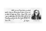 Handwriting and Signature of Alexander Pope from a Letter to Lord Halifax Asking Him Not to… Giclee Print by Alexander Pope