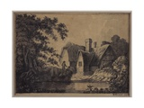 Two by a Cottage in a Landscape, 1799 Giclee Print by H. Knight