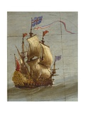 Terrestrial Globe, Detail: Dutch Three-Masted, 1683 Giclee Print by Vincenzo Maria Coronelli
