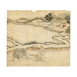 Ploughing the Paddy Field, from 'Gengzhi Tu' Giclee Print by Tang Yin
