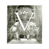 Initial Letter 'V' to Volpone, 1898 Giclee Print by Aubrey Beardsley