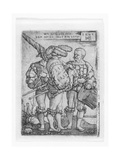 Military Ensign, Drummer and Piper in the Thirty Years' War (1518-48), Engraved by Sebald Beham,… Giclee Print by Barthel Beham