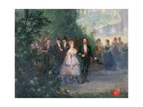 Evening Party at the Tuileries, 10th June 1867 (Detail) Giclee Print by Pierre Tetar Van Elven