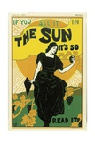 Poster Advertising 'The Sun' Newspaper, 1895 Giclee Print by Louis John Rhead