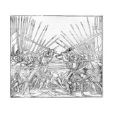 Battle Scene Showing Landsknechte (Mercenaries) Bearing Two-Handed Swords, Halberds and Lances,… Giclee Print by German School