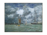 High Tide at Trouville, C.1892-96 Giclee Print by Eugene Louis Boudin