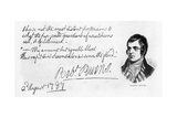 Handwriting and Signature of Robert Burns, 1787 Giclee Print by Robert Burns