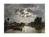 Moonlight, Canal De St. Valery, 1891 Giclee Print by Eugène Boudin