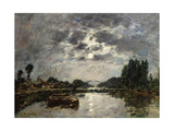 Moonlight, Canal De St. Valery, 1891 Giclee Print by Eugene Louis Boudin