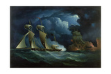 A Customs Brig Engaging the Pirate Lugger 'Will Watch' Giclee Print by Francis Hustwick