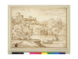 Classical Landscape with Boats on a Lake Below a Castle Giclee Print by Giovanni Francesco Grimaldi