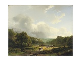 Unloading the Barge in an Undulating Landscape, 1831 Giclee Print by Barend Cornelis Koekkoek