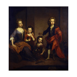 Portrait of Richard Boyle, 3rd Earl of Burlington, with His Three Sisters, Elizabeth, Juliana and… Giclee Print by Sir Godfrey Kneller