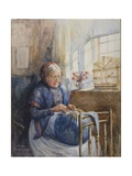 Painting of a Downton Lace Maker Giclee Print by Bertha Newcombe