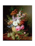 Still Life with Flowers and Grapes Giclee Print by Cornelis van Spaendonck