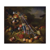 Mixed Fruit with a Monkey, a Parrot, a Jay and Two Finches in a Landscape Giclee Print by Tobias Stranover