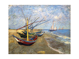 Fishing Boats on the Beach at Saintes-Maries-De-La-Mer Giclée-trykk av Vincent van Gogh