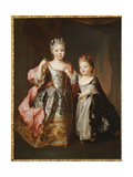 Portrait of Two Young Girls, Said to Be Adelaide and Victoire, Daughters of Louis Xv Giclee Print by Alexis Simon Belle