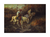 Arab Horsemen at the Edge of a Wood Giclee Print by Adolf Schreyer