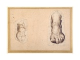Two Studies of a Foot in Foreshortening Giclee Print by Agostino Carracci