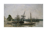 Boat Moorings on the Garonne, Bordeaux, 1876 Giclee Print by Eugène Boudin