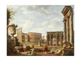 A Capriccio View of Rome, 1743 Reproduction procédé giclée par Giovanni Paolo Pannini