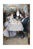 At the Restaurant Giclee Print by Benjamin Eugene Fichel