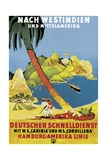 Poster Advertising 'Hamburg-Amerika Linie' Routes to the West Indies and Central America Giclee Print by German School