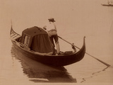 Gondolier in Venice, 1890 Photographic Print