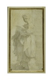 Standing Figure of a Girl with Bulky Draperies Gicleetryck av Parmigianino,