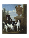 Three Spaniels by an Urn in a Wooded Landscape Giclee Print by John Wootton