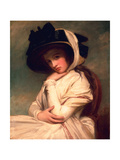 Emma Hart, Later Lady Hamilton, in a Straw Hat, C.1782-94 Giclee Print by George Romney