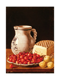 Still Life with Cherries, Cheese and Greengages Giclee Print by Luis Egidio Melendez