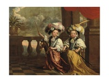 A Double Portrait of Two Boys, Full-Length, Dressed as Knights, One Holding a Flute, the Other on… Giclee Print by Jeanne Vergouwen