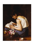 A Girl Reading Giclee Print by Alexei Alexevich Harlamoff