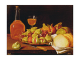Still Life with a Plate of Figs and Pomegranates, Bread and Wine Giclee Print by Luis Egidio Melendez