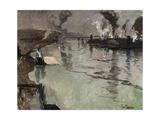 Smokestacks Along the River Giclee Print by Fritz Thaulow
