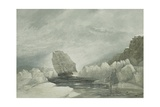 Hms Investigator Running Through a Narrow Channel in a Snow Storm, Between Grounded and Packed… Giclee Print by Samuel Gurney Cresswell