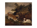 Landscape with Spaniel and Terrier, 1846 Giclee Print by William Pascoe