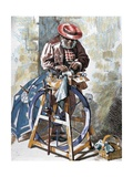 Street Knife-Sharpener, Engraved by E. Alba, 1879 Giclee Print by D. F. Guisasola