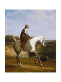 Miss Cazenove on a Grey Hunter, a Dog Running Alongside Giclee Print by Jacques-Laurent Agasse