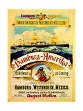 Poster Advertising the Hamburg American Line, 1883 Giclee Print by German School