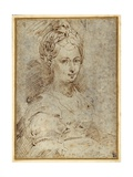 Half-Length of a Seated Woman Gicleetryck av Parmigianino,