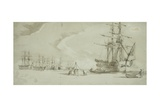 Cutting into Dock with Whalers in Baffin's Bay, C.1850-51 Giclee Print by William Henry Browne