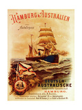 Hamburg - Australia', Poster Advertising the German Australian Steamship Company, 1889 Giclee Print by German School