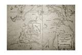 Four Corners Map, 1800 Giclee Print